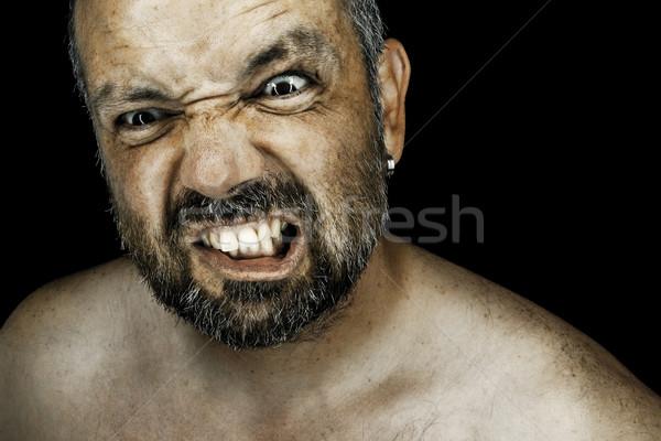Mérges férfi szakáll kép szemek test Stock fotó © magann