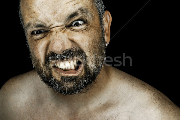 Zangado homem barba imagem olhos corpo Foto stock © magann
