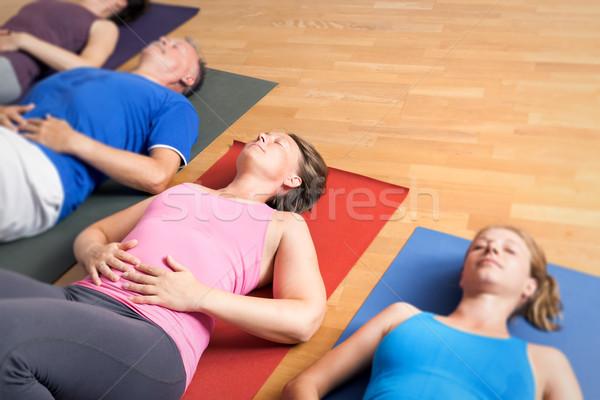 Yoga esercizio immagine persone donne felice Foto d'archivio © magann