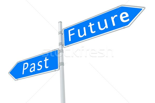 過去 将来 画像 道路標識 空 通り ストックフォト © magann