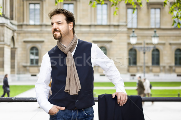 Knappe man sik baard gelukkig zakenman uitvoerende Stockfoto © magann