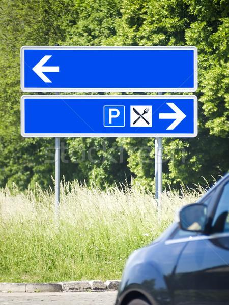 синий дорожный знак изображение небе автомобилей кадр Сток-фото © magann