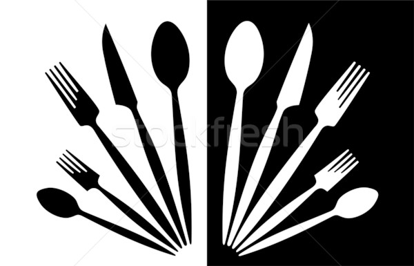 Talheres conjunto talheres preto e branco fundo cozinha Foto stock © magann