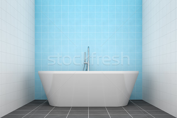 turquoise bathroom side view to the tub Stock photo © magann