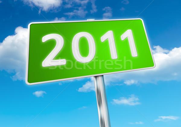 2011 obraz znak drogowy nowy rok niebo streszczenie Zdjęcia stock © magann