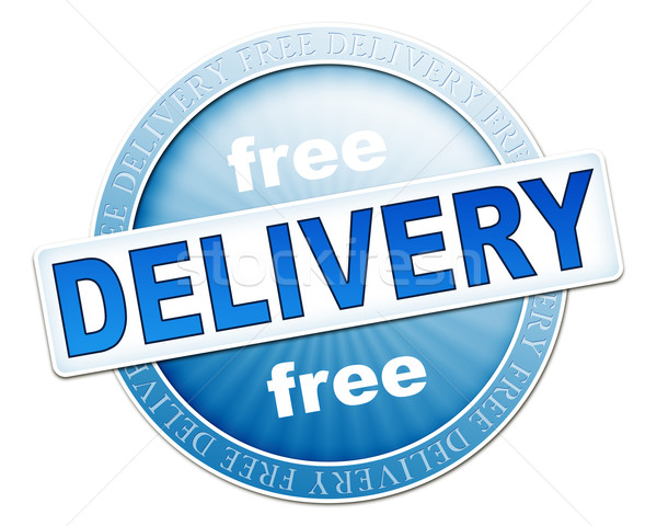 Livraison gratuite bouton bleu image utile design Photo stock © magann