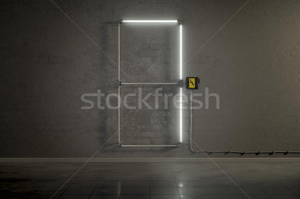 Neon csövek épület szám hét 3D Stock fotó © magann