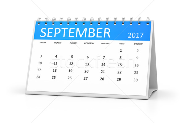 blue table calendar 2017 september Stock photo © magann