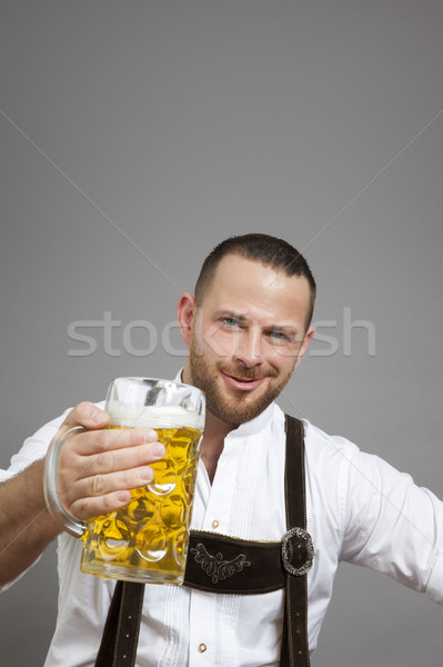 young bavarian with a beer Stock photo © magann