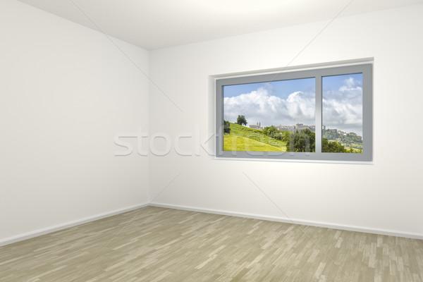 пустой комнате окна 3D стены пейзаж Сток-фото © magann