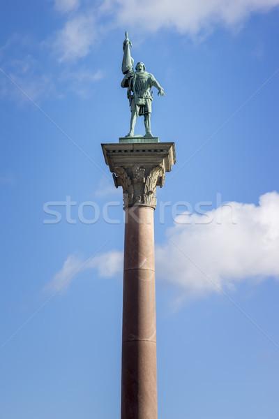Posąg miasta sali Sztokholm obraz niebo Zdjęcia stock © magann