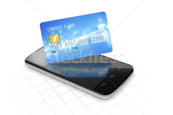 Foto stock: Cartão · de · crédito · móvel · pagamento · 3D
