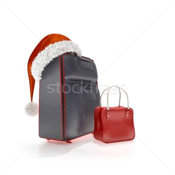 traveling luggage with a red christmas hat Stock photo © magann