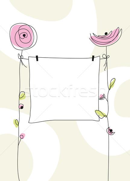 Születés üdvözlőlap szép lány virág absztrakt Stock fotó © magann