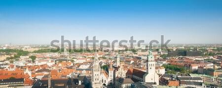 Panoráma München panorámakép kép város építkezés Stock fotó © magann