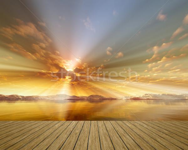 Arany naplemente kép gyönyörű óceán égbolt Stock fotó © magann