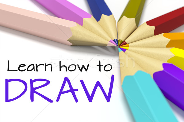 some color pencils with text learn how to draw Stock photo © magann