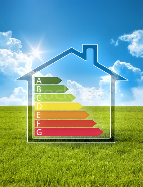 green house in the sun with energy efficiency graph Stock photo © magann