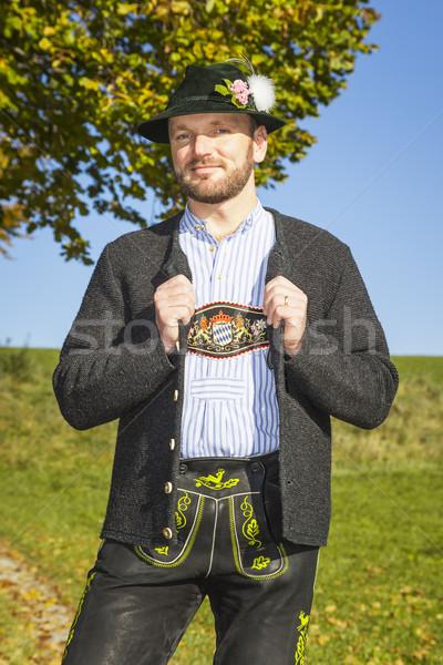 Gelenek geleneksel adam sonbahar doğa ağaç Stok fotoğraf © magann