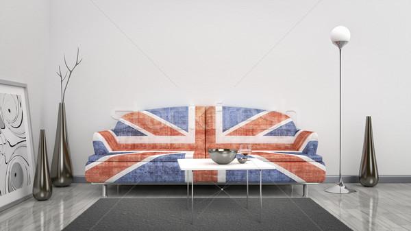 Wielka brytania banderą sofa 3D wnętrza oddać Zdjęcia stock © magann