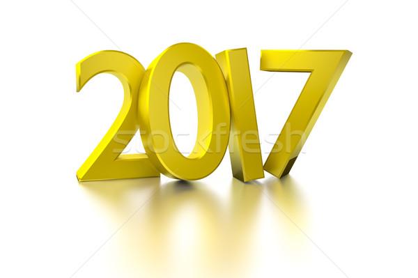 Altın happy new year 3D ışık dizayn Stok fotoğraf © magann