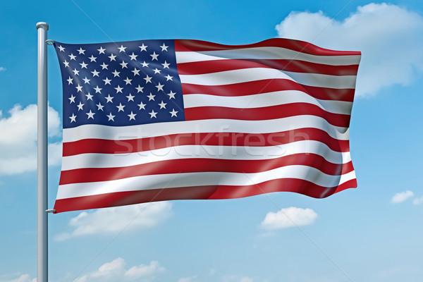 États-Unis Amérique pavillon image ciel bleu ciel Photo stock © magann