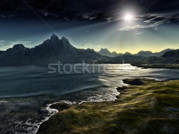 Ciemne fantasy krajobraz obraz niebo górskich Zdjęcia stock © magann