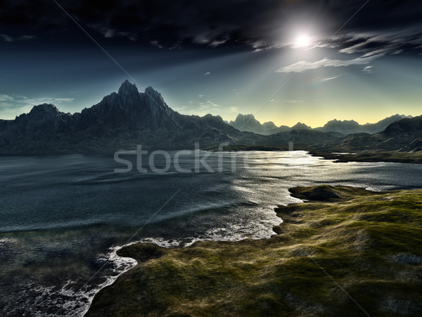 Sombre Fantasy paysage image ciel montagne Photo stock © magann
