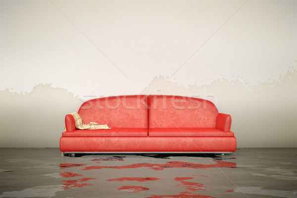 Water schade sofa 3D interieur Stockfoto © magann