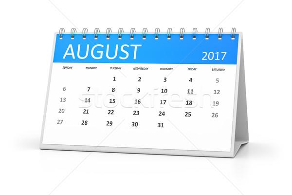 Bleu table calendrier août événements design Photo stock © magann