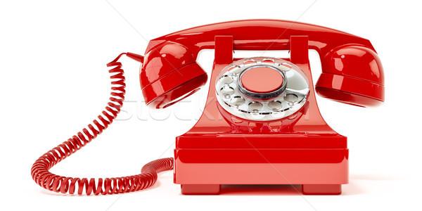 Stockfoto: Oude · Rood · telefoon · 3d · illustration · technologie · telefoon