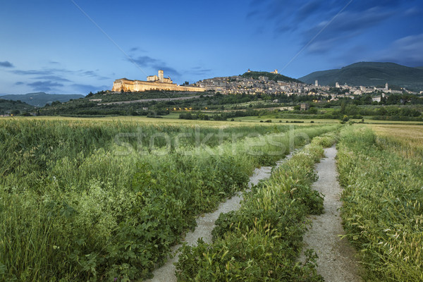 Stock photo: cityscape of Assisi in Italy Umbira at late evening