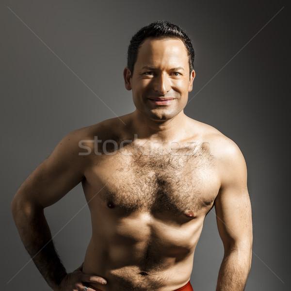 Homem peludo imagem bonito sorrir cara Foto stock © magann