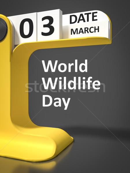 Vintage Calendar World Wildlife Day Stock photo © magann