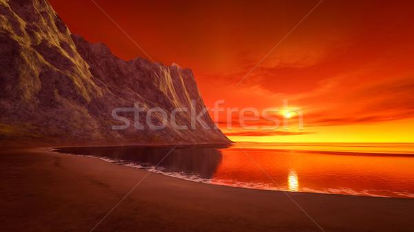 красивой фантазий закат океана 3D Сток-фото © magann