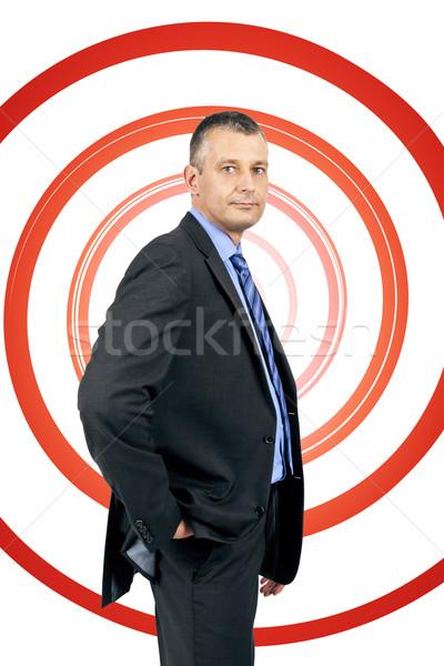 Iş adamı spiral görüntü yakışıklı kırmızı iş Stok fotoğraf © magann
