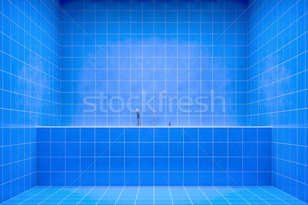 Kék fürdőszoba oldalnézet kád 3D renderelt kép Stock fotó © magann