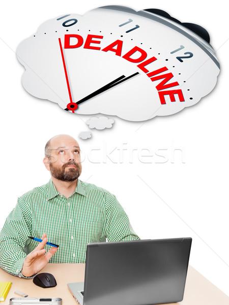 Homem de negócios prazo de entrega imagem bonito pensando computador Foto stock © magann