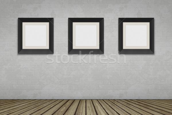Foto stock: Quarto · vazio · três · quadro · quadros · edifício · parede