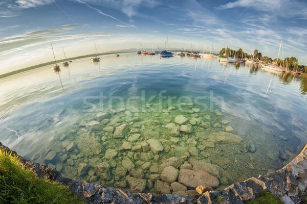 Olho de peixe imagem lago Alemanha nuvens azul Foto stock © magann