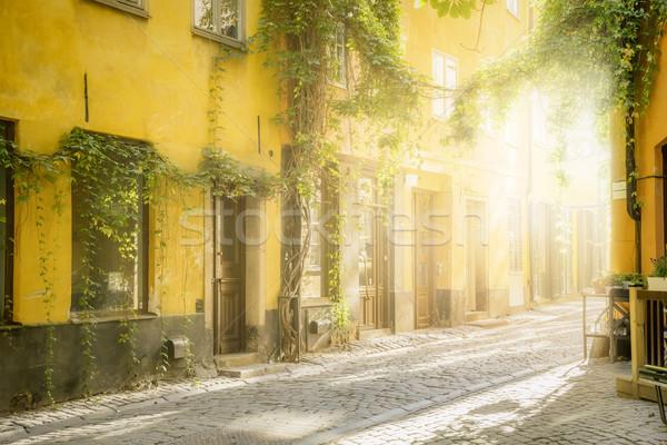 Eski sokak Stockholm görüntü akşam ışık Stok fotoğraf © magann