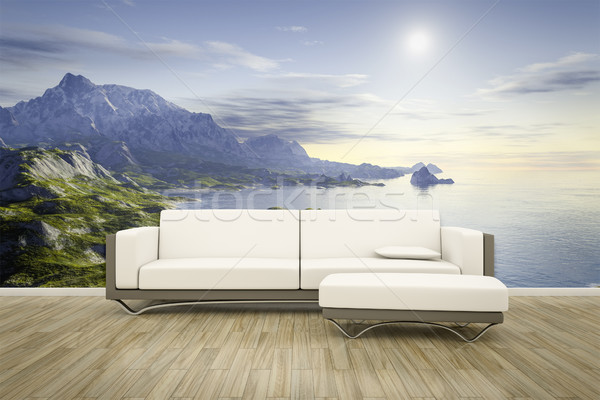photo wall mural sofa floor landscape Stock photo © magann