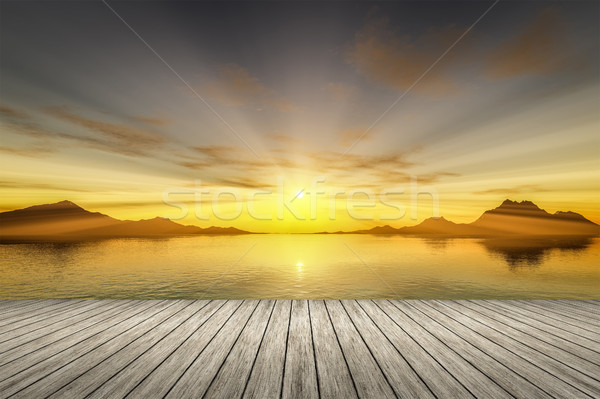 sunset wooden jetty Stock photo © magann