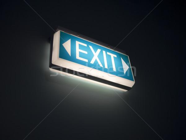 Glühend exit sign Bild Wand Licht blau Stock foto © magann