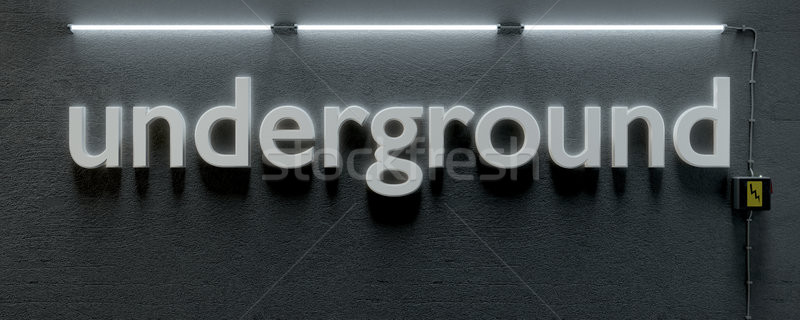 Ondergrondse muur neon lichten 3d illustration textuur Stockfoto © magann