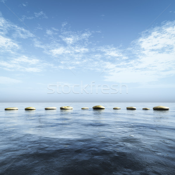 step stones in the blue sea Stock photo © magann
