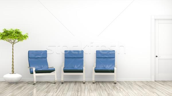 Kamer drie Blauw stoelen 3D Stockfoto © magann
