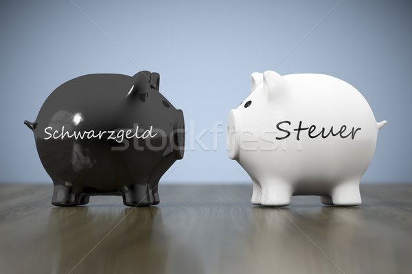 two piggy banks with the words black money and tax in german lan Stock photo © magann