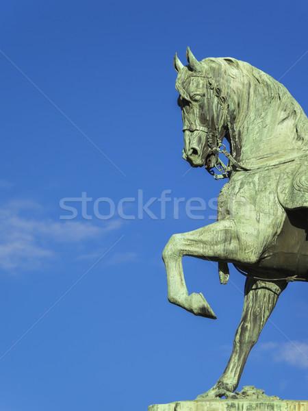 Miedź konia posąg obraz niebieski stałego Zdjęcia stock © magann