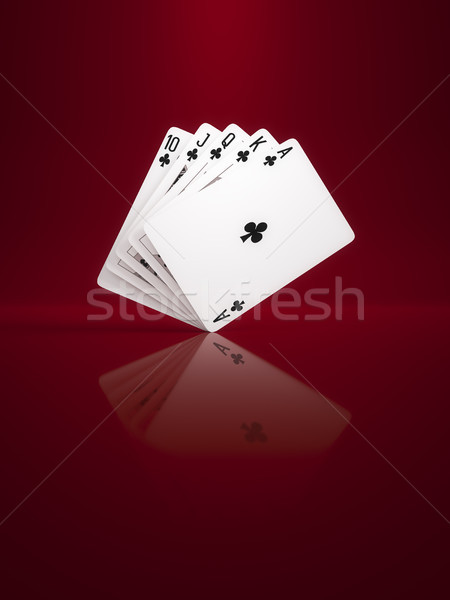 some poker cards on a background red Stock photo © magann